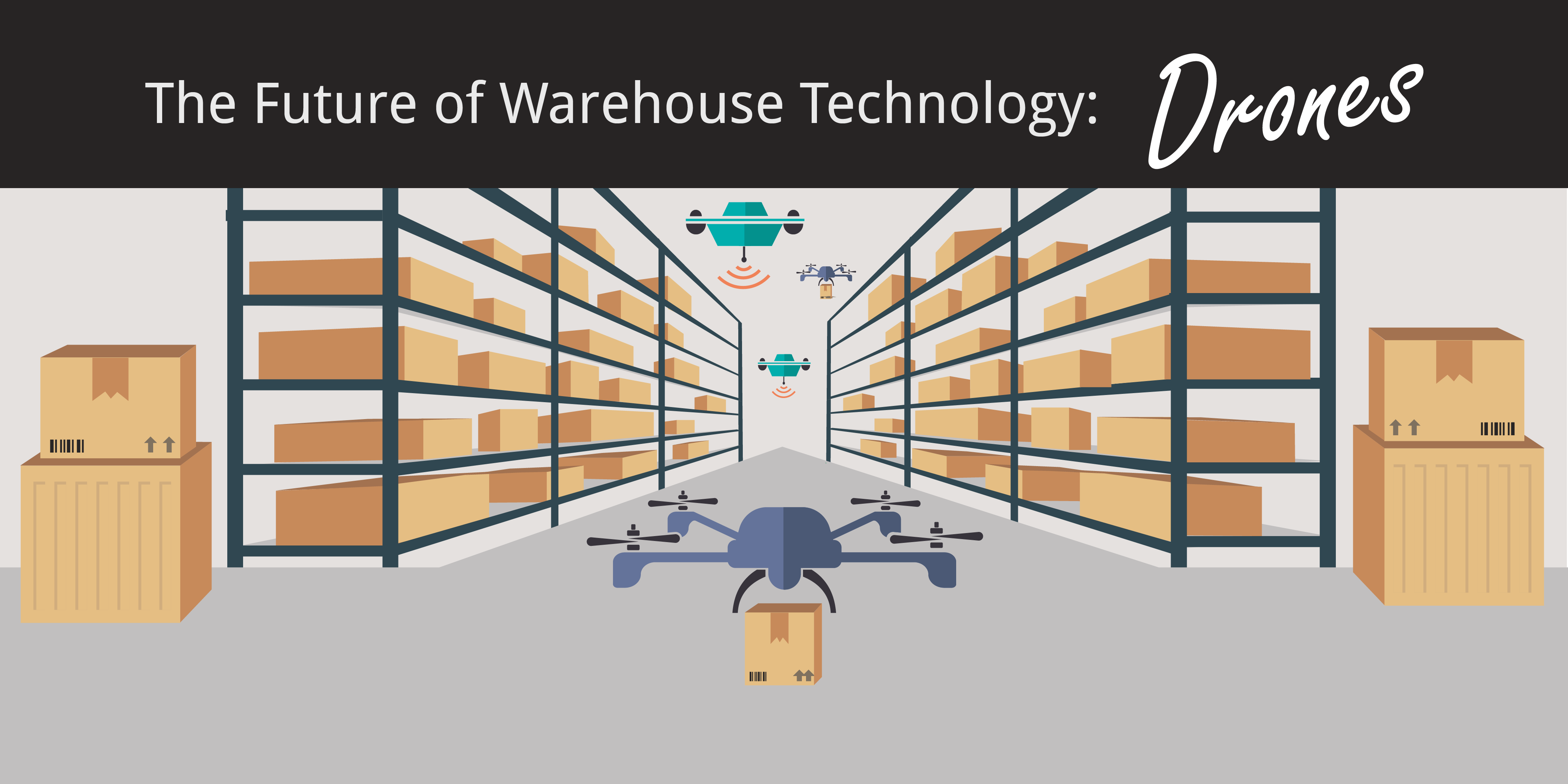 warehouse technology drones inventory graphic with boxes on shelves
