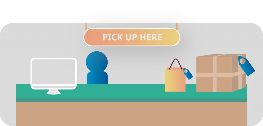 BOPIS Pick Up here Inventory Management Graphic Illustration