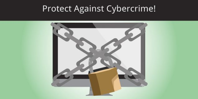 Protect against cybercrime - chain and lock around computer